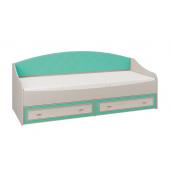 Кровать Миндаль Тони-4 (Вудлайн кремовый/Аруша венге кожа мята)