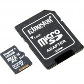 Карта памяти micro-SD Kingston 128GB class 10 + адаптер (SDXC)