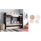 Кровать двухъярусная Мийа-А (Дуб сонома светлый/Белый шагрень)