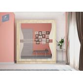 Шкаф-купе Комфорт с фигурными зеркалами+лакобель 1.5 (Дуб сонома светлый)